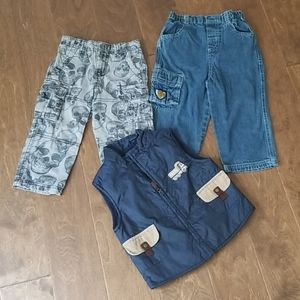 BOYS Lot of 2 Pants and 1Vest Sz 24 Mo